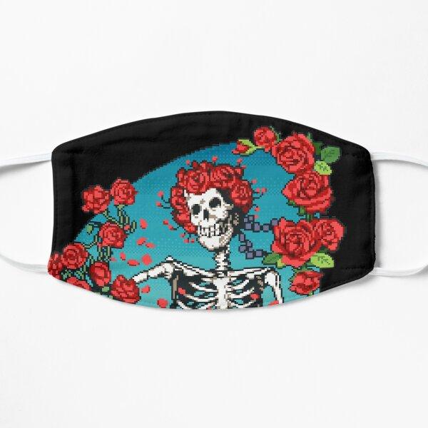 Pixel Art Skeleton and roses grateful dead Flat Mask