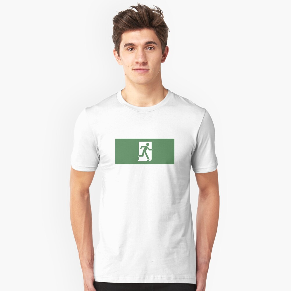 Running Man Emergency Exit Sign, Right Hand Unisex T-Shirt Front