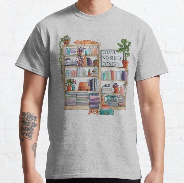 "Watercolor bookshelf ""I have no shelf control"" Classic T-Shirt"