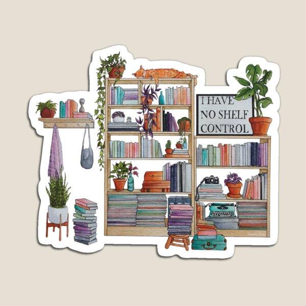 Watercolor bookshelf I have no shelf control Magnet