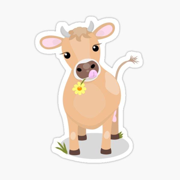 Cute happy jersey cow and flower cartoon Sticker