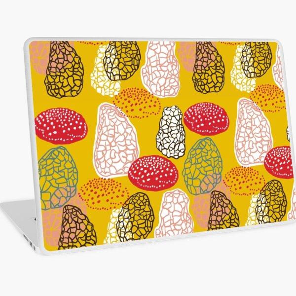 """Shrooms"" Graphic Modern Red Gold Designer Mushroom Print Laptop Skin"
