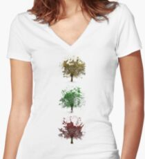 Painted trees Women's Fitted V-Neck T-Shirt
