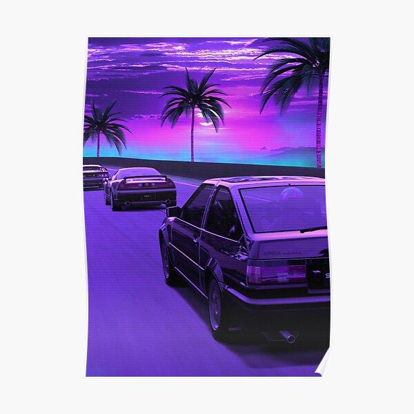 AE86 TRUENO retrowave distancé Poster