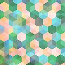 Child's Play - hexagon pattern in mint green, pink, peach & aqua by micklyn
