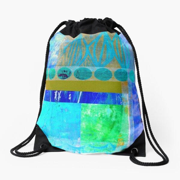 Caribbean Collage Abstract Drawstring Bag