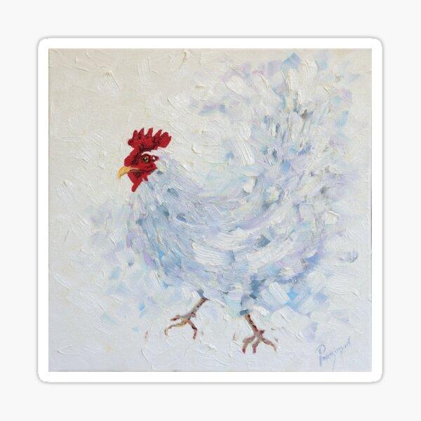 Dancing White Hen  Sticker