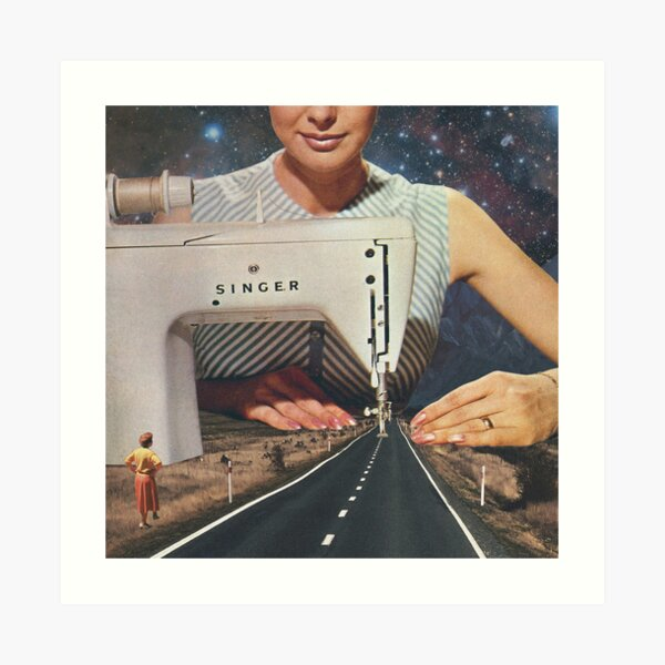 This is how a road gets made - Sewing Machine Art Print