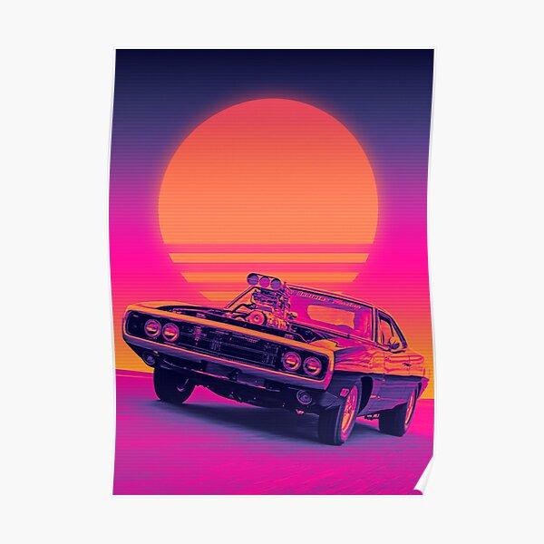 Dodge challenger retrowave sunset Poster