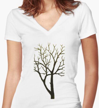 White Tree Women's Fitted V-Neck T-Shirt