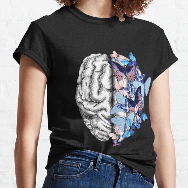 Blue butterflies Mental health brain psychology Classic T-Shirt