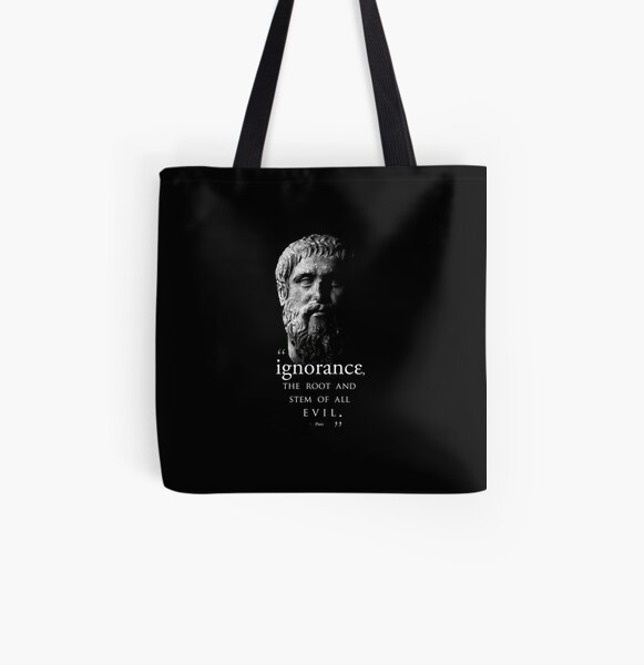PLATO--Ignorance is Evil μπλε All Over Print Tote Bag