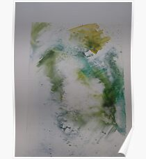 Water colour screen-print of Expanding foam face. Poster