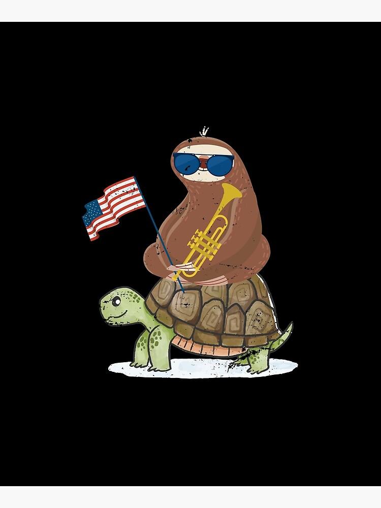 Patriotic Trumpeter Turtle Riding Sloth by bestshirtdesign