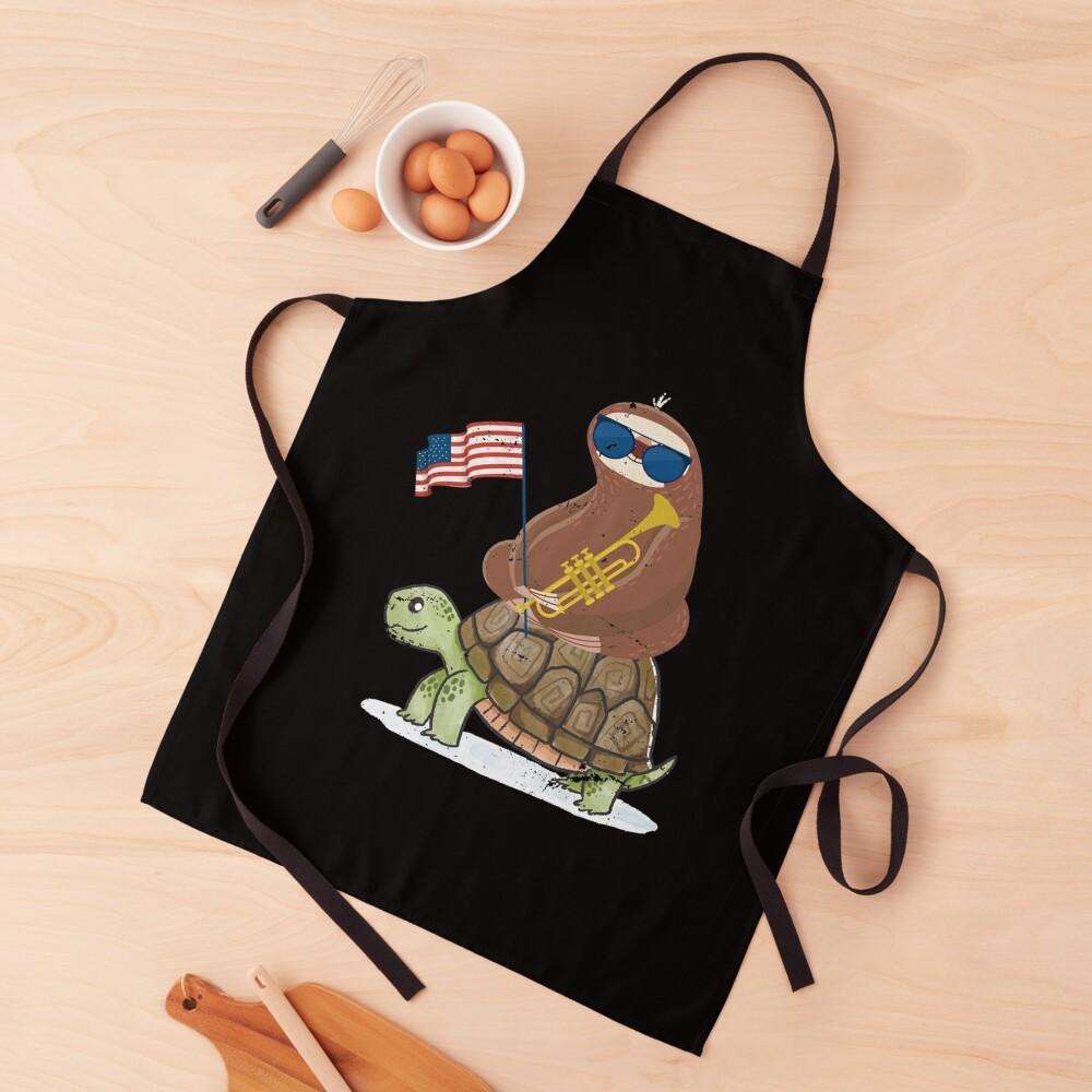 Patriotic Trumpeter Turtle Riding Sloth Apron