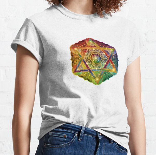 Metatron's Cube with Merkabah and Flower of Life Classic T-Shirt
