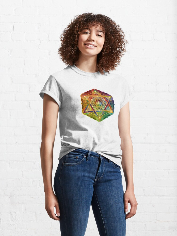 Alternate view of Metatron's Cube with Merkabah and Flower of Life Classic T-Shirt