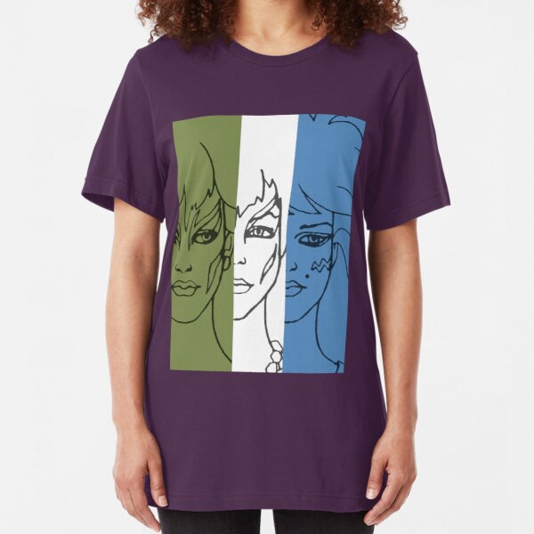 Jem and The Holograms - The Misfits Striped - Color Slim Fit T-Shirt