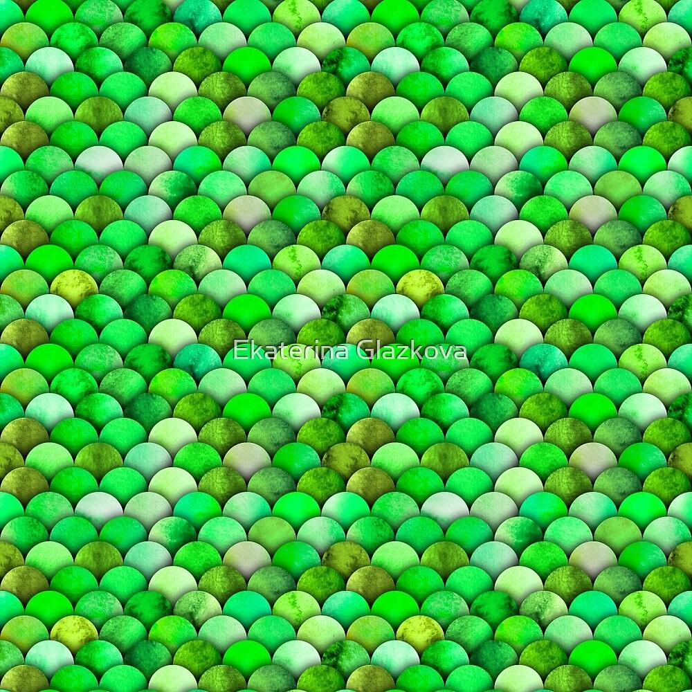 Green watercolor scales by Ekaterina Glazkova