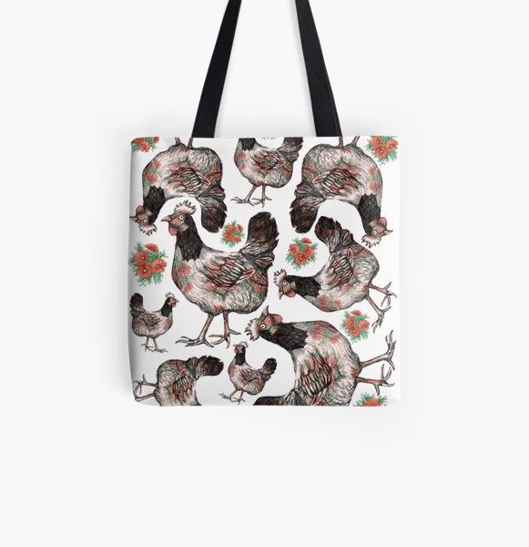 Chicken and Vygies Pattern All Over Print Tote Bag