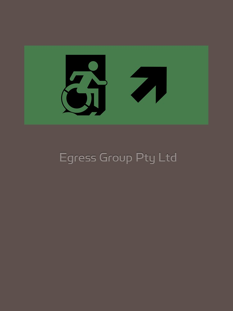 Accessible Means of Egress Icon Emergency Exit Sign, Right Hand Diagonally Up Arrow by LeeWilson