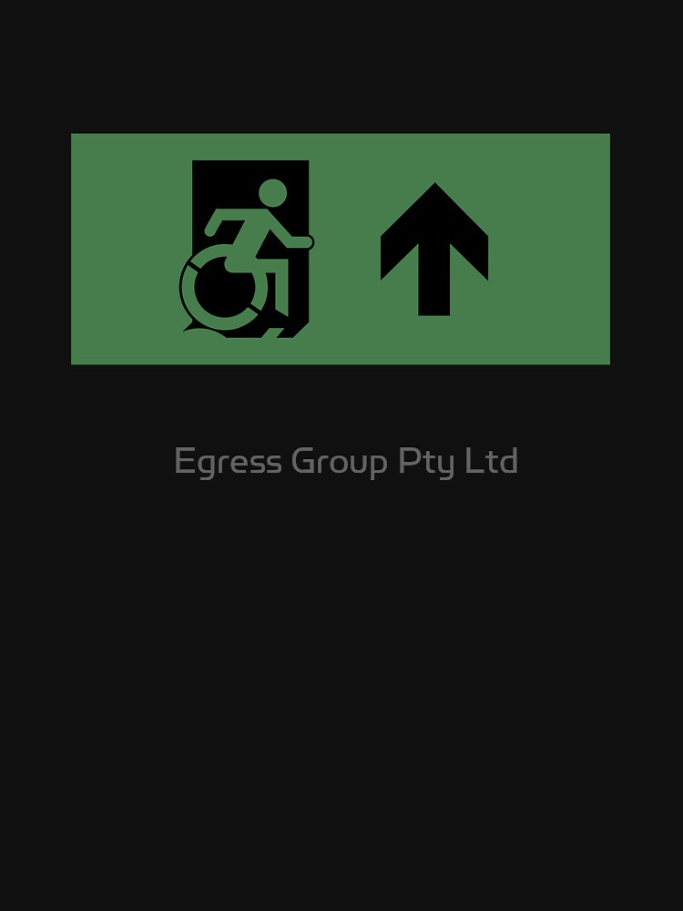 Accessible Means of Egress Icon Emergency Exit Sign, Right Hand Up Arrow by LeeWilson