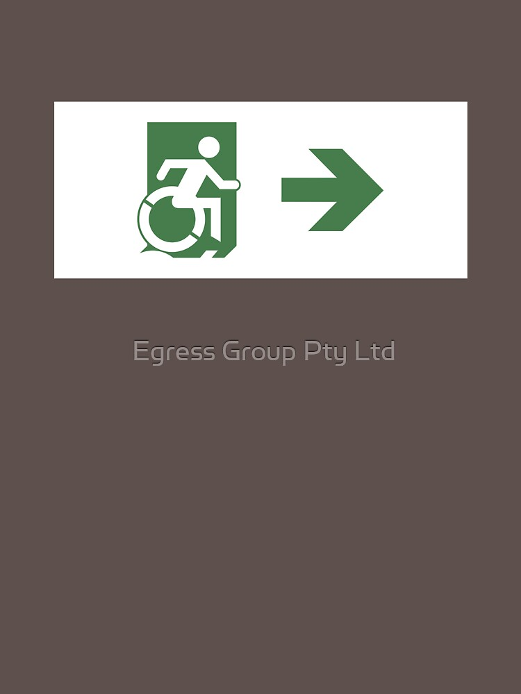 Accessible Means of Egress Icon Emergency Exit Sign, Right Hand Arrow by LeeWilson
