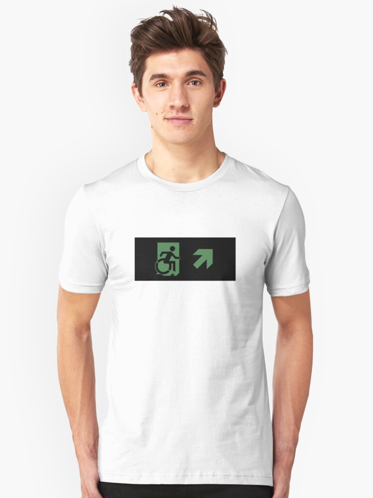 Accessible Means of Egress Icon Emergency Exit Sign, Right Hand Diagonally Up Arrow Unisex T-Shirt Front
