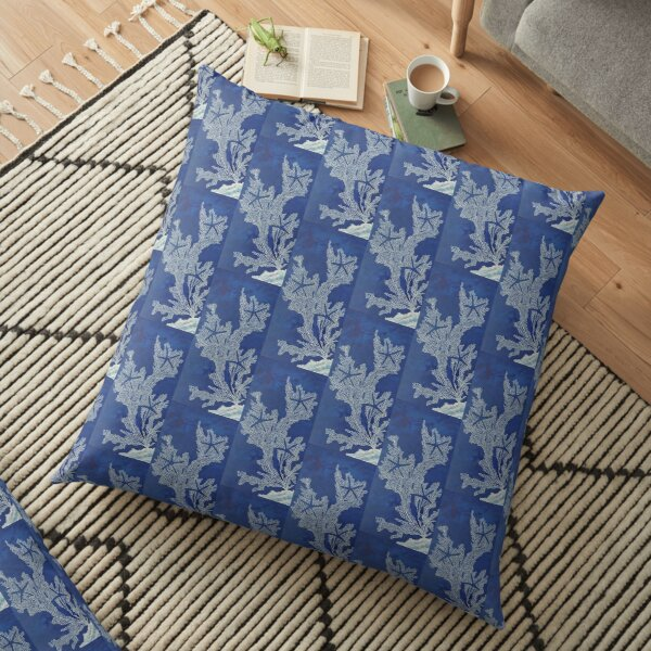 Sea Fan Coral White Starfish Midnight Blue Painting Floor Pillow