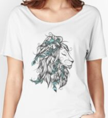 Poetic Lion Turquoise Women's Relaxed Fit T-Shirt