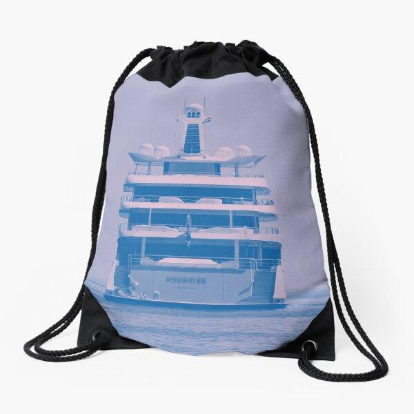 Mega Yacht into the Blue Drawstring Bag