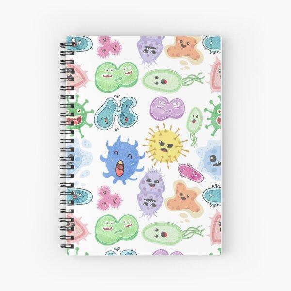 Cute Microbes Bacteria, Virus, Ecoli MicroBiology Seamless Pattern Sticker Pack.  Spiral Notebook