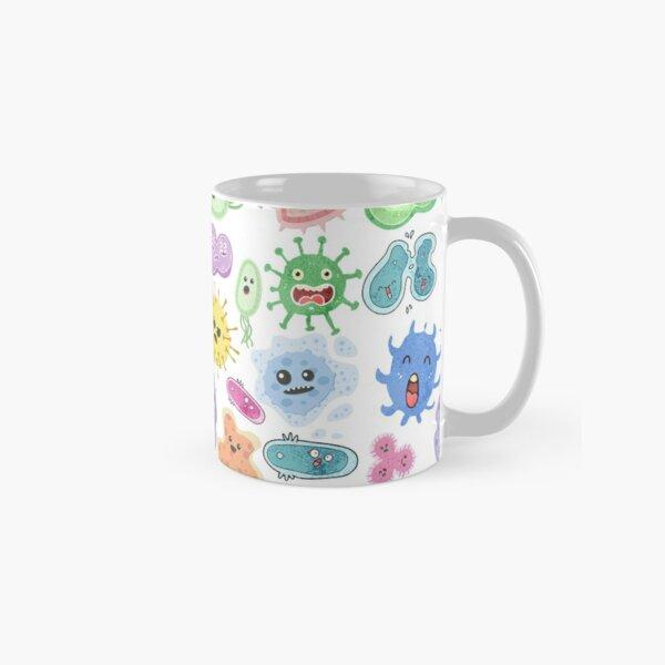 Cute Microbes Bacteria, Virus, Ecoli MicroBiology Seamless Pattern Sticker Pack.  Classic Mug
