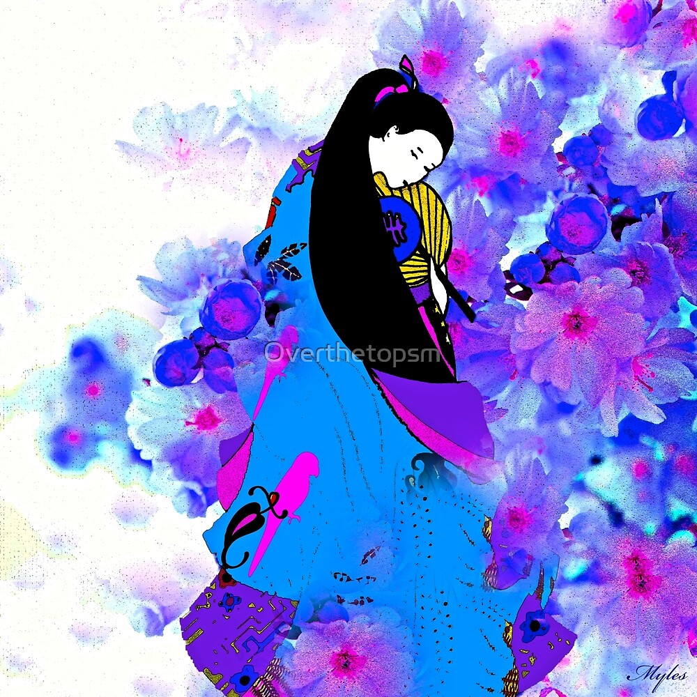 Asian Princess and Cherry Blossoms by Saundra Myles