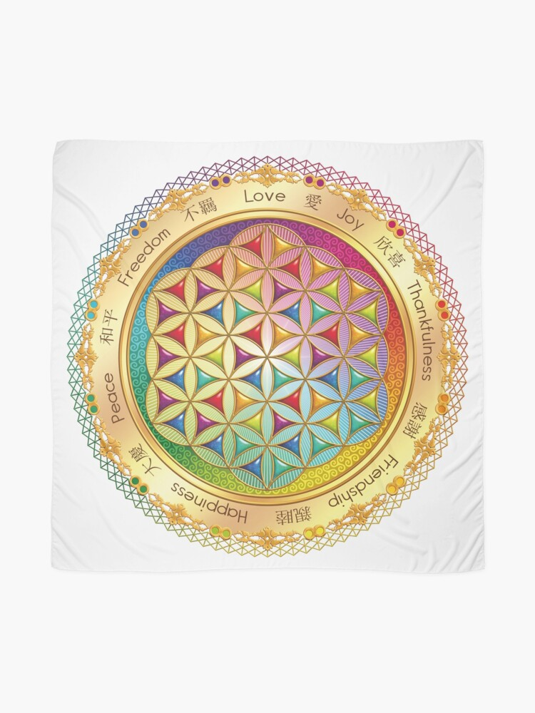 Alternate view of The Flower of Life - light with framing Scarf