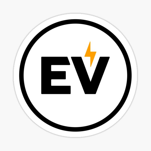Autocollant EV - Style européen, blanc Sticker