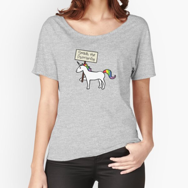 Smash The Patriarchy (White Unicorn) Relaxed Fit T-Shirt