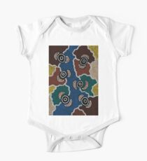 Aboriginal Art Authentic - Riverside Dreaming One Piece - Short Sleeve