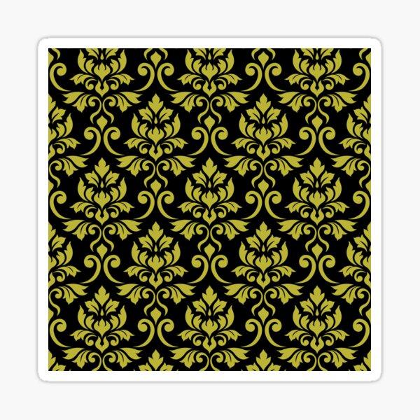Feuille Damask Pattern Gold on Black Sticker