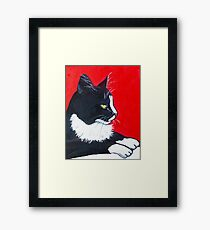 Black and White and Red All Over Framed Print