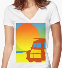 Sunset Woodie Women's Fitted V-Neck T-Shirt
