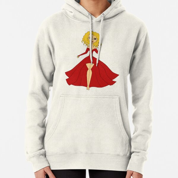 Lady in Red Pullover Hoodie