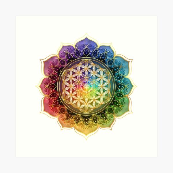 Rainbow Flower of Life with Lotus Art Print