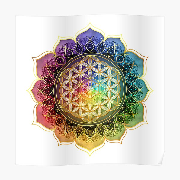 Rainbow Flower of Life with Lotus Poster