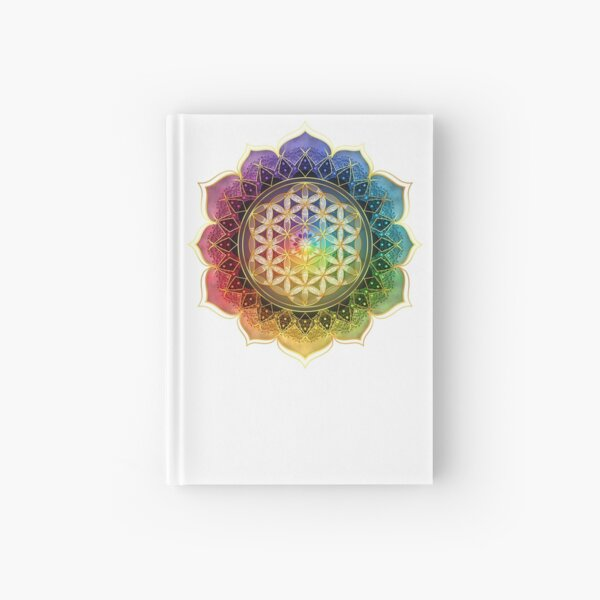 Rainbow Flower of Life with Lotus Hardcover Journal