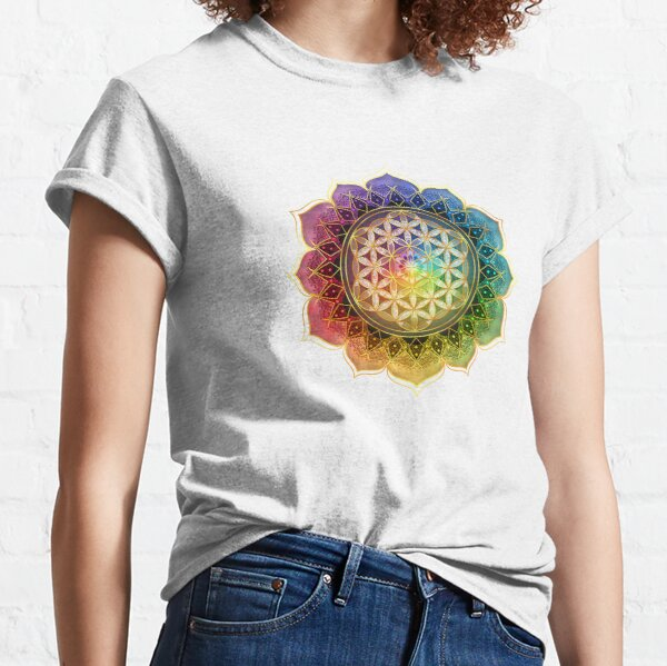 Rainbow Flower of Life with Lotus Classic T-Shirt