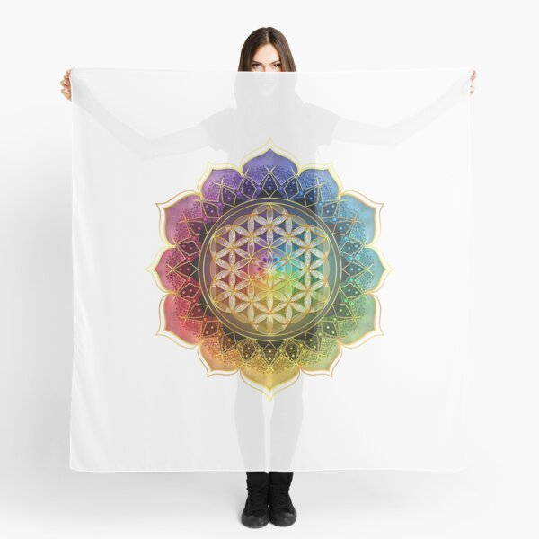 Rainbow Flower of Life with Lotus Scarf