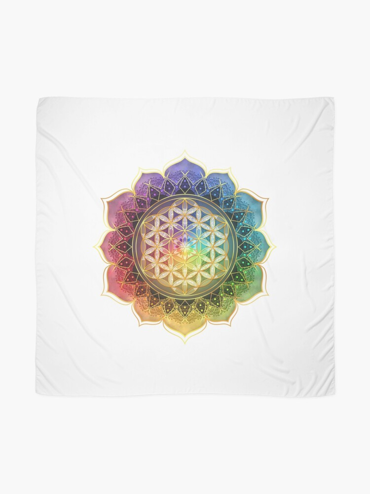 Alternate view of Rainbow Flower of Life with Lotus Scarf