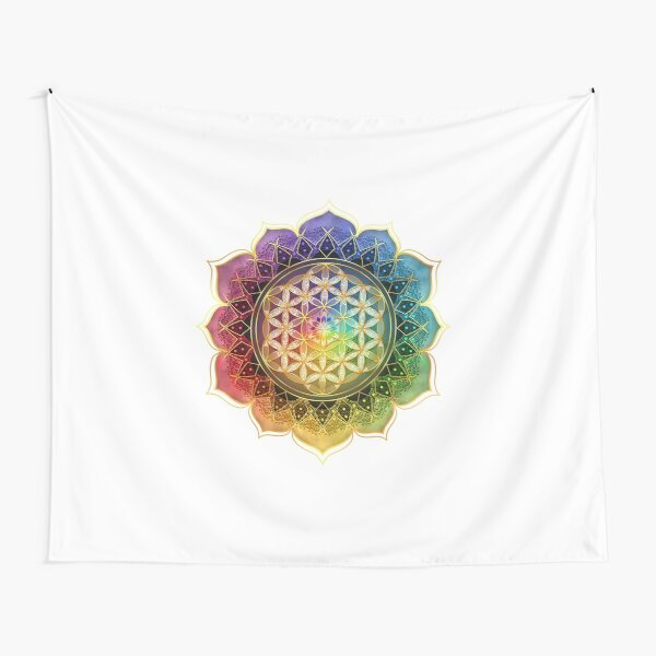 Rainbow Flower of Life with Lotus Tapestry