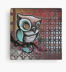 owl & cherry blossom original tattoo art Canvas Print